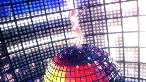 Beautiful girl dances on disco ball. Loopable Image