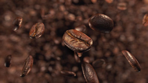 Coffee beans jumping in super slow motion 4K Acción en vivo