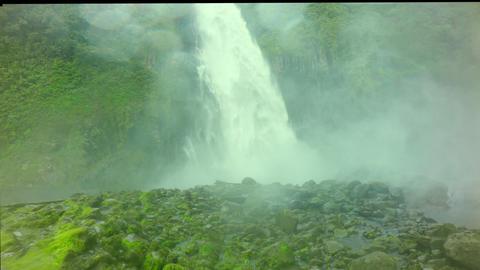 Overwhelming Waterfall In Ecuador Splashing The Camera Footage