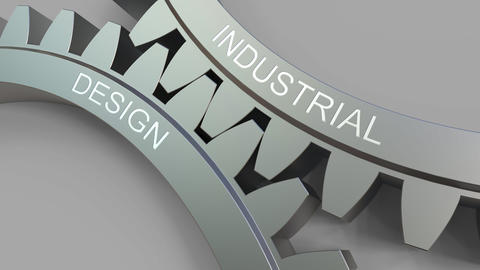 INDUSTRIAL DESIGN caption on meshing gears. Conceptual animation Footage