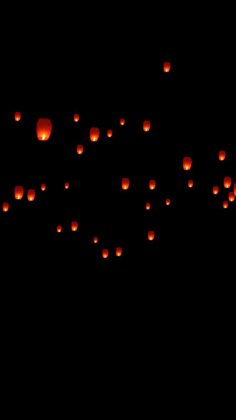 Vertical sky lantern soaring with alpha Animation