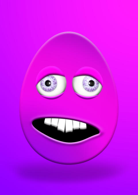 Easter Egg With Eyes and Mouth Looking Stupid and Scared 3D Illustration フォト