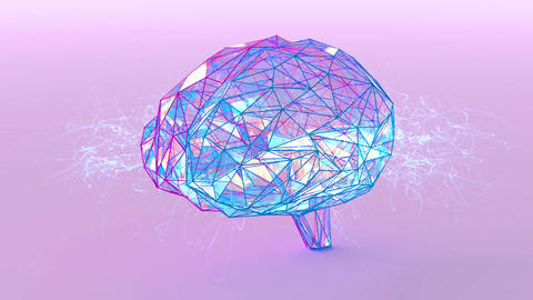Polygonal crystal brain shape with glowing lines and dots 애니메이션