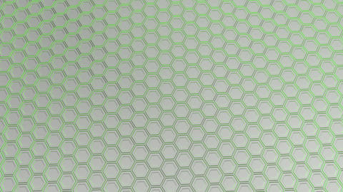 Wall of white hexagons with green glow Animation
