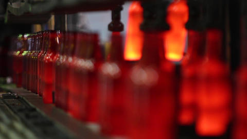 Production of glass bottles for beer. Glass plant Live Action