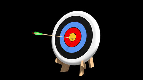 Arrow hits bullseye, Stock Animation