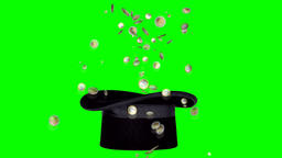 Magic trick with hat and coins on green screen Animación