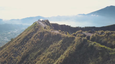 Aerial View at Mount Batur Volcano Peak. 4K. Bali, Indonesia Footage