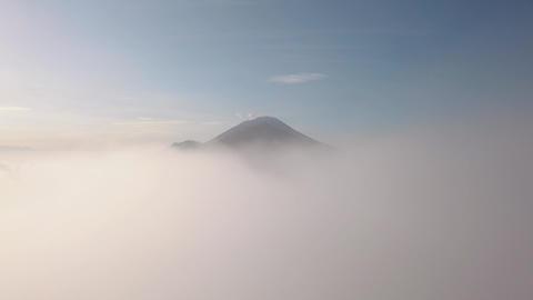 4K Aerial: Mount Agung Volcano view thru Clouds. 4K. Bali, Indonesia Footage