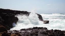 Waves splashing at the shore Footage