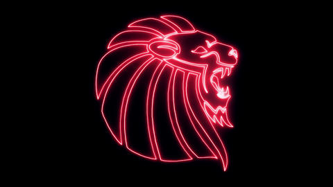 Red Neon Lion Head Animated logo Loopable Graphic Element V3 Animation