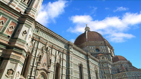 Clouds passing over Santa Maria del Fiore cathedral in Florence, Italy. Time lap Footage