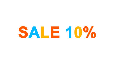sale tag SALE 10% from letters of different colors appears behind small squares Animation