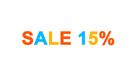 sale tag SALE 15% from letters of different colors appears behind small squares Animation
