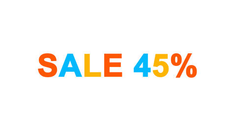 sale tag SALE 45% from letters of different colors appears behind small squares Animation