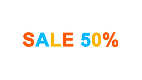 sale tag SALE 50% from letters of different colors appears behind small squares Animation