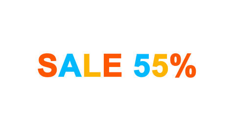 sale tag SALE 55% from letters of different colors appears behind small squares Animation