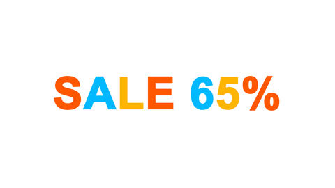 sale tag SALE 65% from letters of different colors appears behind small squares Animation