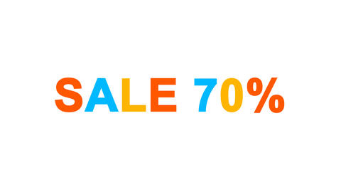 sale tag SALE 70% from letters of different colors appears behind small squares Animation