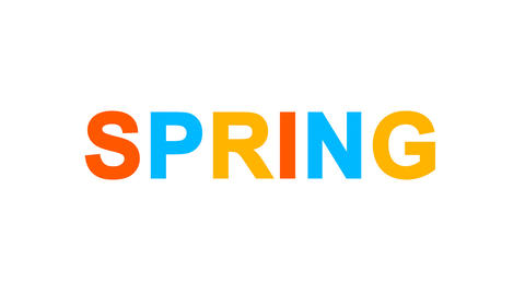 season name SPRING from letters of different colors appears behind small Animation