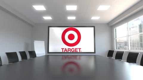 Target Corporation logo on the screen in a meeting room. Editorial 3D animation Live Action