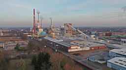 RHEINBERG / GERMANY - FEBRUARY 03 2017 : Chemical plant during sunset Footage