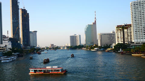 Water traffic on the Chao Phraya River Footage
