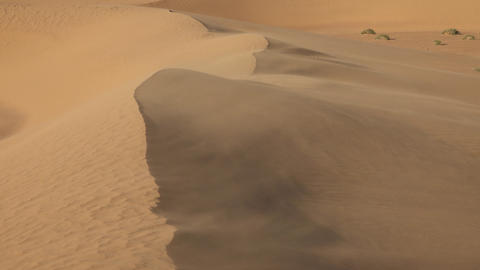 Sand blowing over dunes in wind, Sahara desert Footage