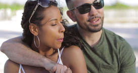 Romantic diverse couple in embrace Footage