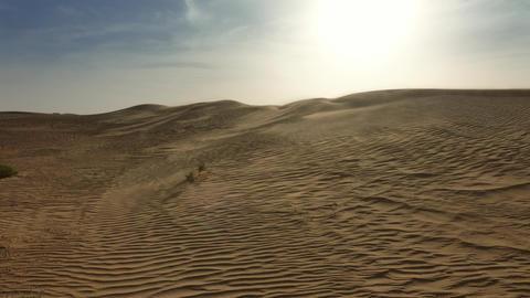 Sand blowing over dunes in wind, Sahara desert Footage