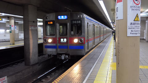 Subway Train Arriving To Underground Metro Station In Tokyo Japan Footage