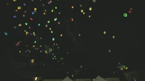 Color Balloons at Night Sky Live Action