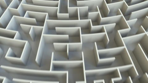REWARD word in the center of a big round maze. Conceptual 3D animation Live Action