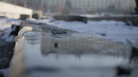 Water drops from melting snow - spring time Footage