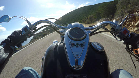 classic motorcycle riding in Capo Caccia, Italy Footage