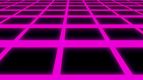Endless Violet Glow Horizontal Grid Retro Abstract Motion Background Loop Animation