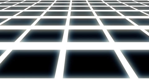 Endless White Glowing Horizontal Grid Retro Abstract Motion Background Loop Animation