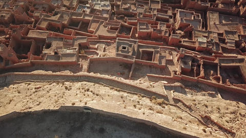 Aerial top view on Kasbah Ait Ben Haddou Morocco Footage