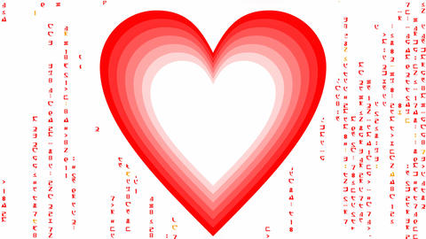 Heart tunnel with matrix code characters, animated message for extraterrestrial Animation
