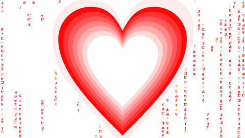 Heart tunnel with matrix code characters, animated... Stock Video Footage