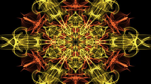Live red and orange fractal mandala, video tunnel on black background. Animated Animation
