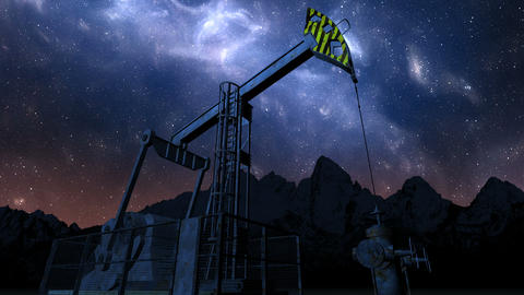 Loop oil pump jack under night sky Animation