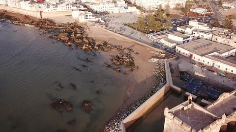 Aerial view medieval Essaouira old city, Morocco Footage