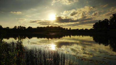 River sunset beautiful landscape, timelapse Footage