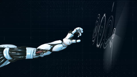 Futuristic Hi-tech Robotic arm teamwork concept animation Animation