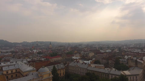 Aerial Old City Lviv, Ukraine. Central part of old city. European City. Densely Footage