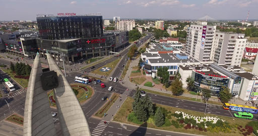 Rzeszow city centre of midday rush hour traffic on a cloudy day with strong sun Footage