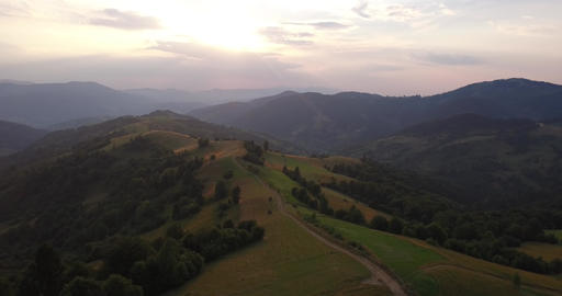 Aerial View Ukraine. Sunevyr. Flight over the Mountains. Flying over the Trees Footage