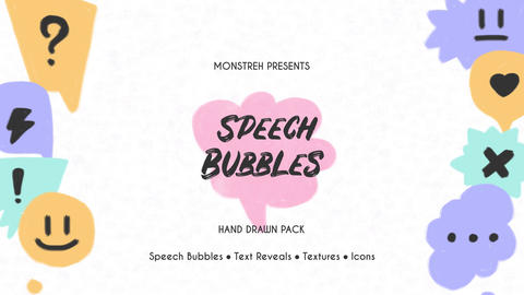 Speech Bubbles. Hand Drawn Pack After Effectsテンプレート