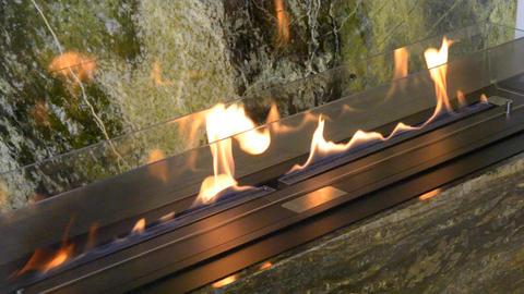 Modern bio fireplot fireplace on ethanol gas. Smart ecological Footage